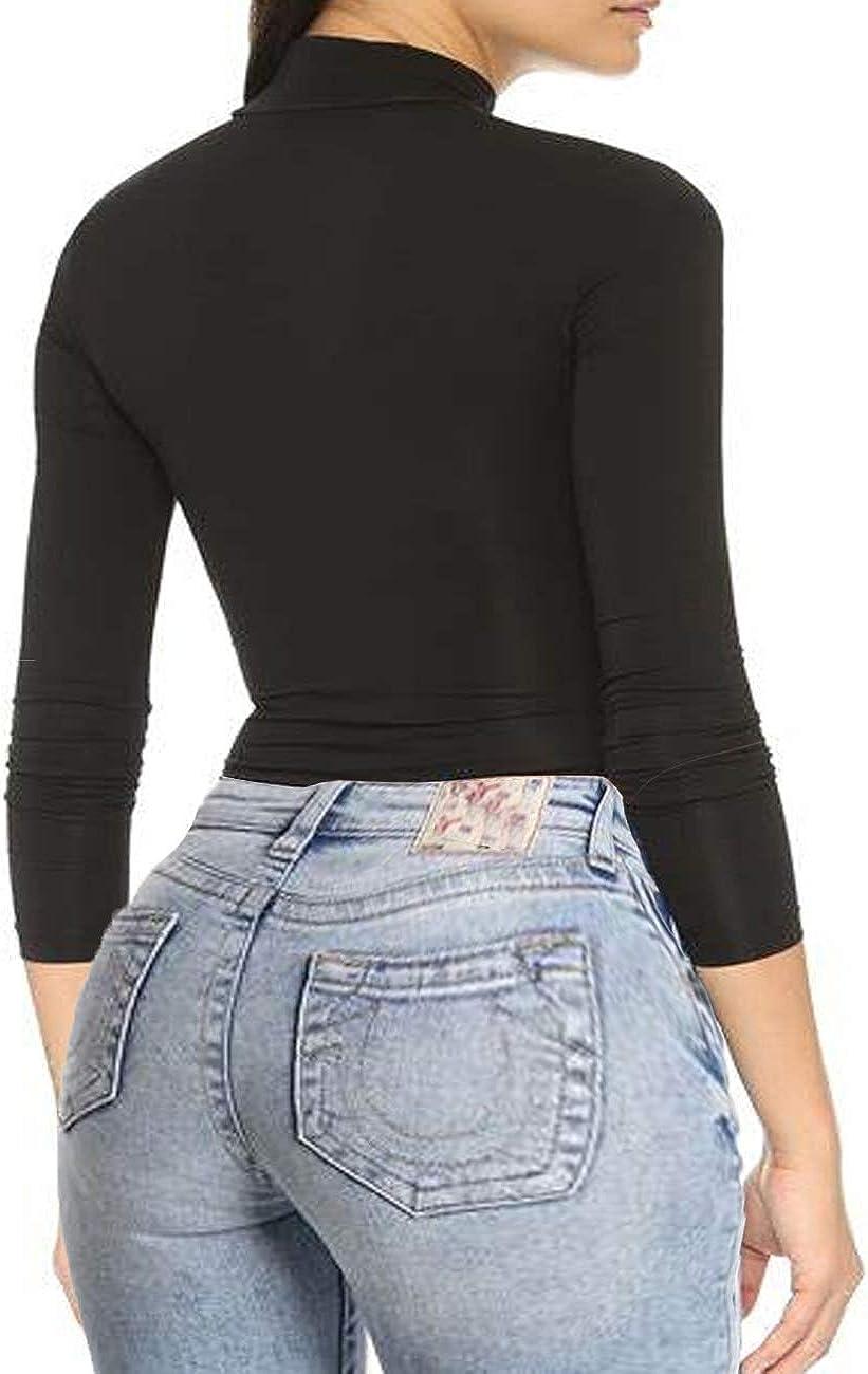 Women Turtleneck Long Sleeve Stretch Slim T Shirt Turtlenecks Top Turtle Mock Neck Tshirt Lightweight Tops