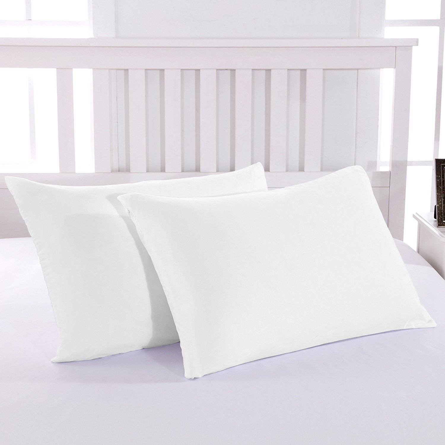 TheVelvetCompany Premium 1800 Ultra-Soft Microfiber Pillowcase Set - Double Brushed - Hypoallergenic - Wrinkle Resistant (King Pillowcase Set of 2, White)