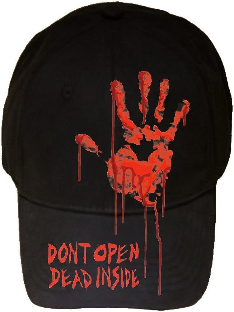 100% Black Cotton Adjustable Hat - Bloody Dead Zombie Hand Dont Open Dead Inside
