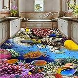 BZDHWWH Underwater World Coral Tortoise 3D Floor Painting Wallpaper Living Room Bedroom Kitchen Floor Mural,110Cm X 160Cm