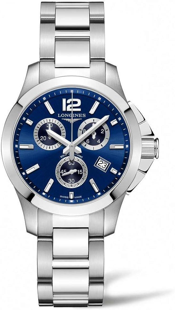 Longines Conquista Cronógrafo Azul Dial Damas Reloj l3.379.4.96.6