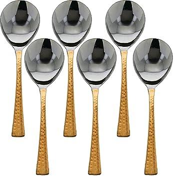 Conjunto de 6, cubiertos de mesa elegantes que sirven una cuchara, utensilio de servicio, banquete de buffet que sirve cucharas, mango de cobre de acero ...