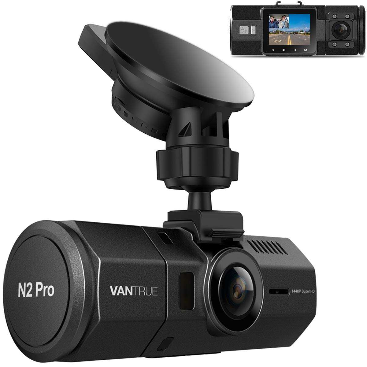 Vantrue N2 Pro Uber Dual Dash Cam Dual 1920x1080P Infrared Night Vision Front and Inside Dash Camera, 2.5K 2560x1440P Single Front, 310° Car Camera, 24hr Parking Mode, Motion Sensor, Support 256GB max by VANTRUE