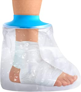 Cast Covers for Shower Adult Foot, Waterproof Foot Cast Wound Cover Protector for Shower Bath,Soft Comfortable Watertight Seal to Keep Wounds Dry, for Showering, Bathing and Hot-tub(Adult Foot)