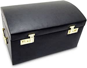 Morelle Marylyn Leather Jewelry Chest with 3 Takeaway Cases, Black