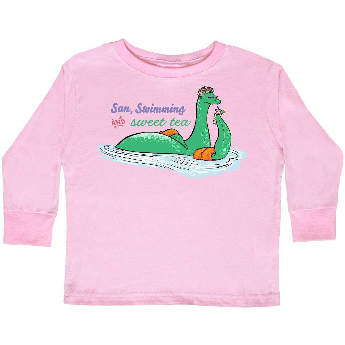 inktastic Loch Nessie Sun Swimming and Sweet Tea Toddler Long Sleeve T-Shirt