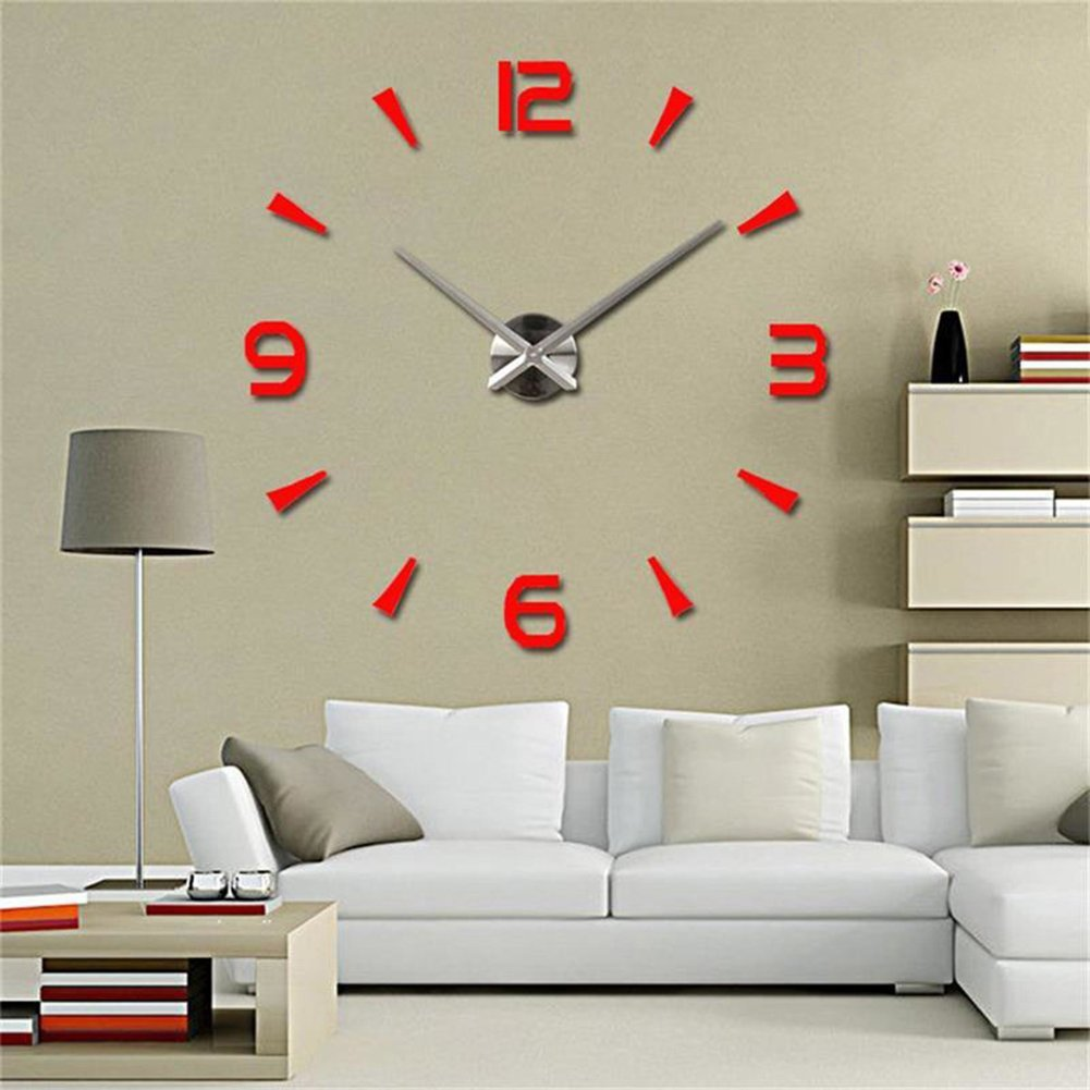 CreationStore Wall Decor Frameless Clock 3D DIY Mirror Surface Wall Sticker Clocks Large Size Wall Decorative Clock for Living Room Bedroom Office Hotel (Red)