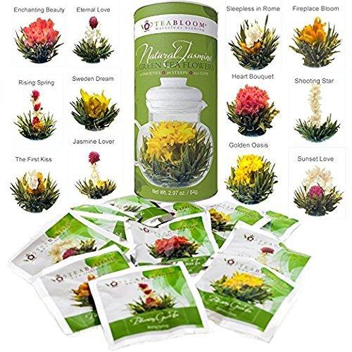 2 opinioni per Teabloom Fiori di tè con foglioline di tè della migliore fioritura- 12 varietà-