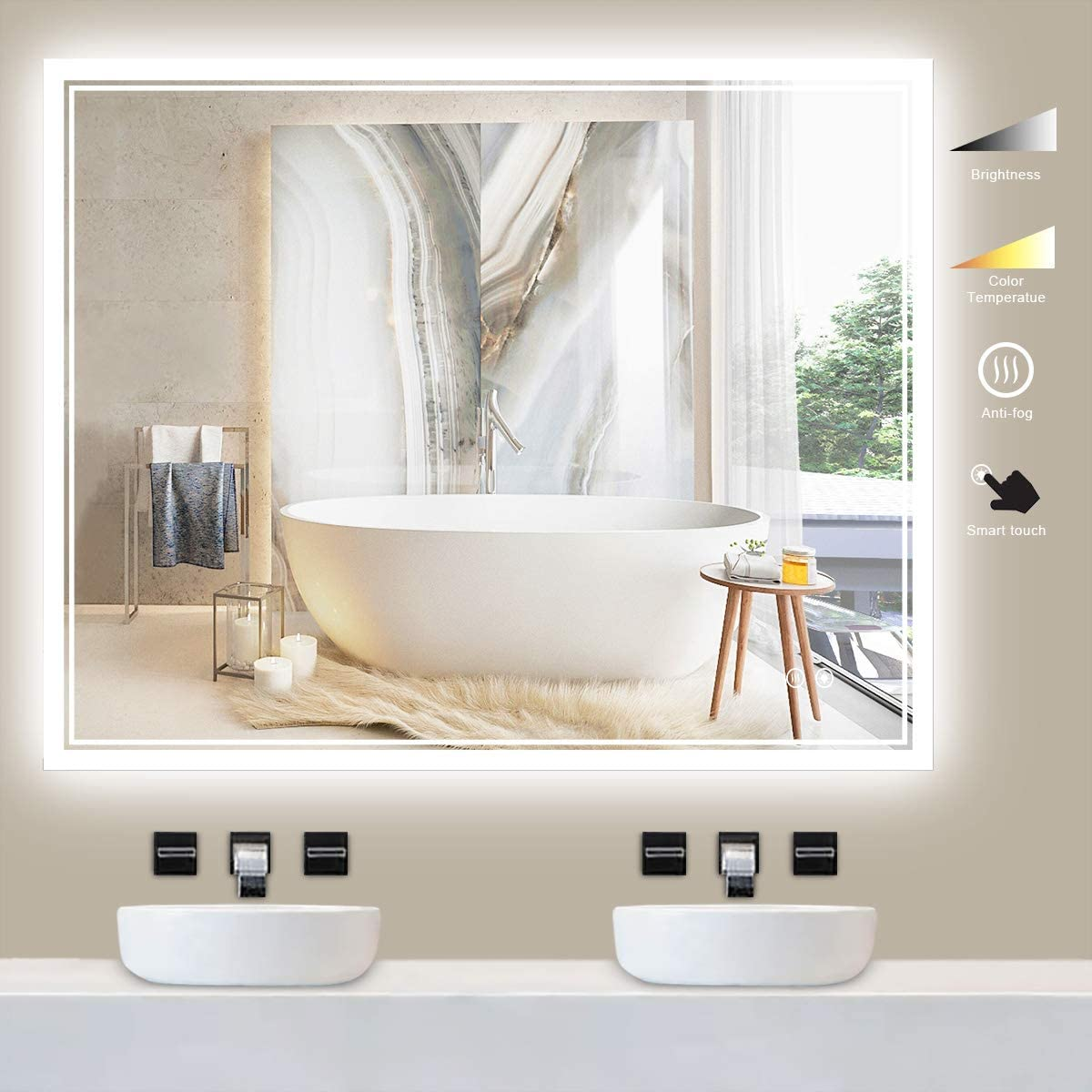 TokeShimi 40x32 Inch Bathroom LED Mirror,Fashion Style Vanity Make-up Mirror with Light,Anti-Fog & Dimmer Touch Switch,Adjustable Lights White/Warm/Natural, Wall Mounted