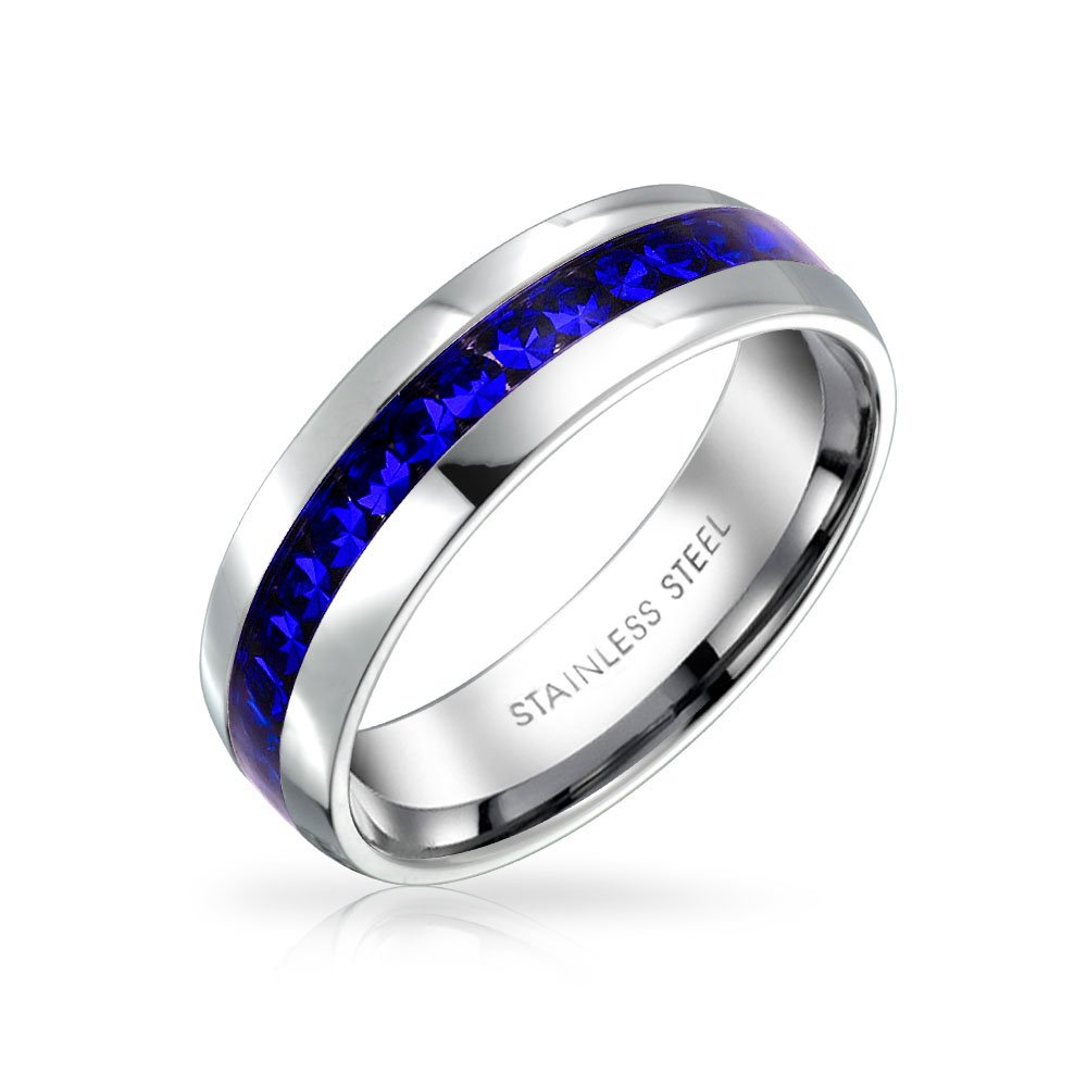 Simulated Sapphire Crystal Eternity Ring Steel