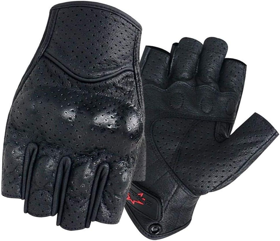 Color : Black , Size : S Verano Guantes medio dedo de la motocicleta Mitt Guante sin dedos de cuero de los hombres de las mujeres de Moto Vespa manopla de bicicleta el/éctrica competir con de ciclo