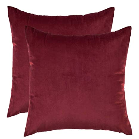 CCRoom Funda de Cojín de Terciopelo,Paquete 2 Decorativas Plaza Fundas de Almohada para Cojín con Cremallera Oculta18 x18, 45 x 45cm(Vino Rojo)