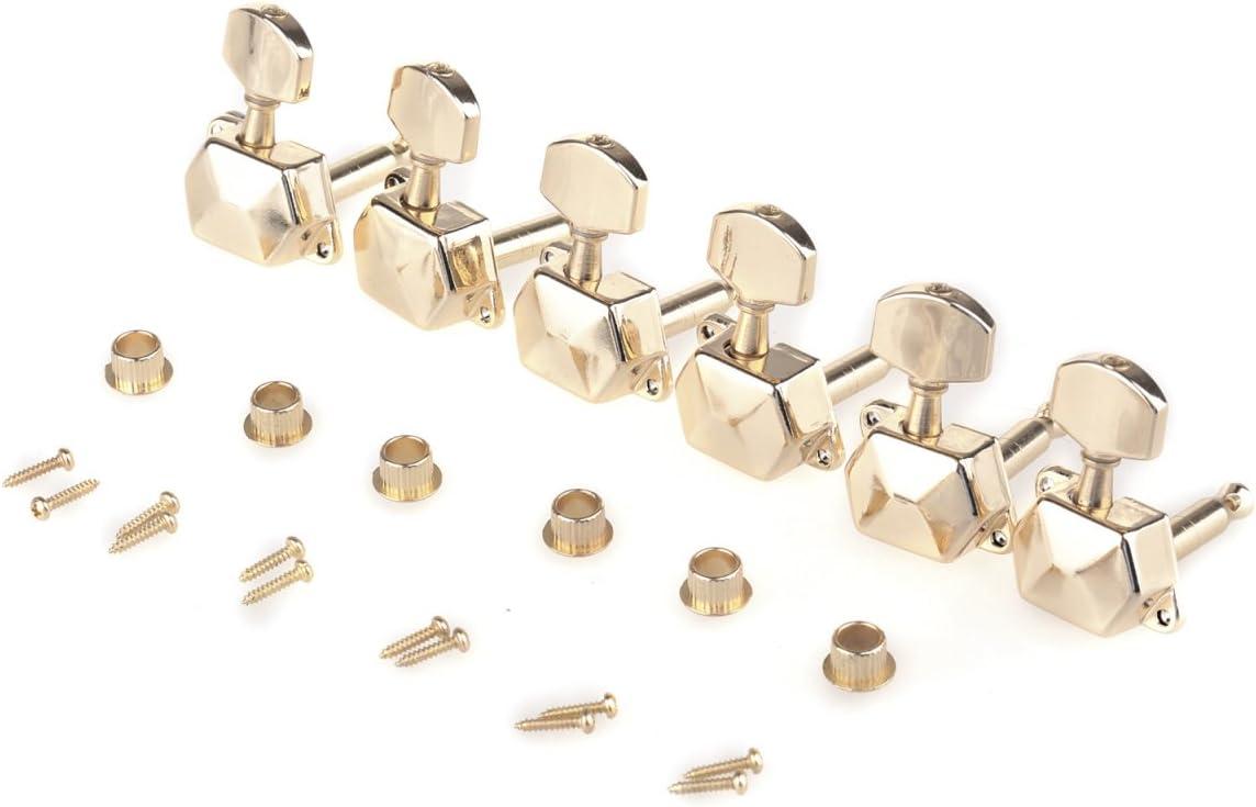 Musiclily 6 en Línea Estilo Semi Sellado Clavijas de Afinación Clavijero de Repuesto para Guitarra Eléctrica, Oro