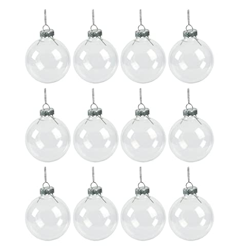 25 set of 12 clear glass ball christmas ornaments