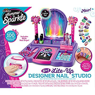 Cra-Z-Art Shimmer 'N Sparkle Real Light Up 8-in-1 Nail Design Studio: Toys & Games