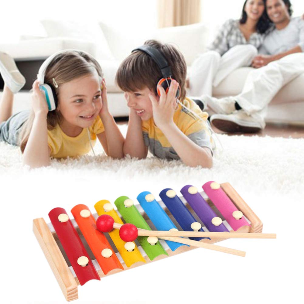 WakeyPQ 2Pcs 8 Tones Xylophone and Large Wooden Rattle 1Pcs for Kids Handmade Instrument Toys Safe Pine Wood Best Gift