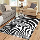 InterestPrint Zebra Skin Print Area Rugs Carpet 7 x 5 Feet, Black and White Stripes Modern Carpet Floor Rugs Mat for Children Kids Home Living Dining Room Playroom Decoration For Sale