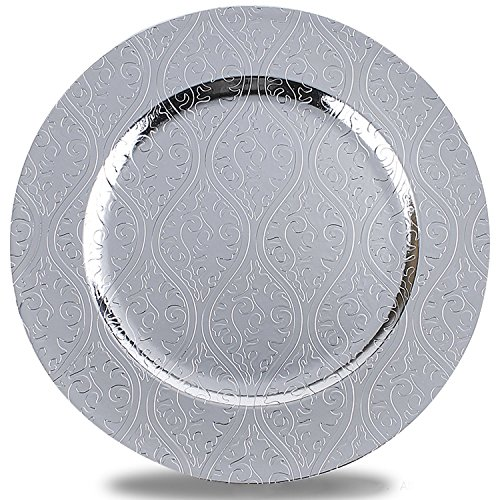 Benzara BM174297 Moslem Pattern Round Plastic Charger Plate with Electroplating Finish, Pack of 1, Silver