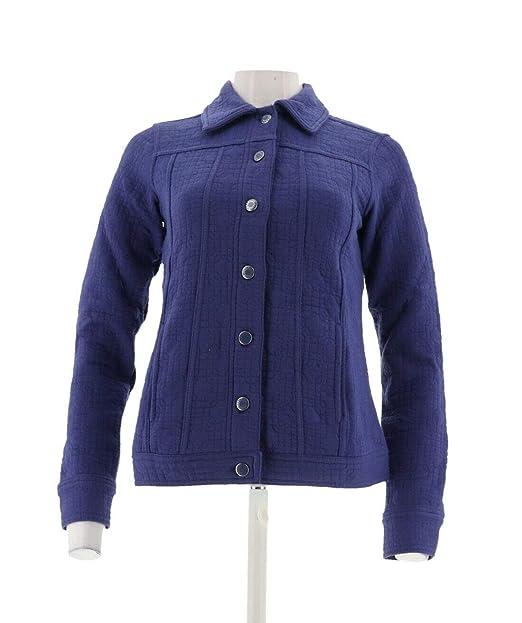 4a647d150 Isaac Mizrahi Cute Quilted Button Front Knit Jacket Dark Indigo XXS ...