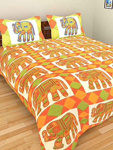 New Double Bed Sheet Rajasthani Print Double Bed Sheets Hand Screen - Orange print sheets