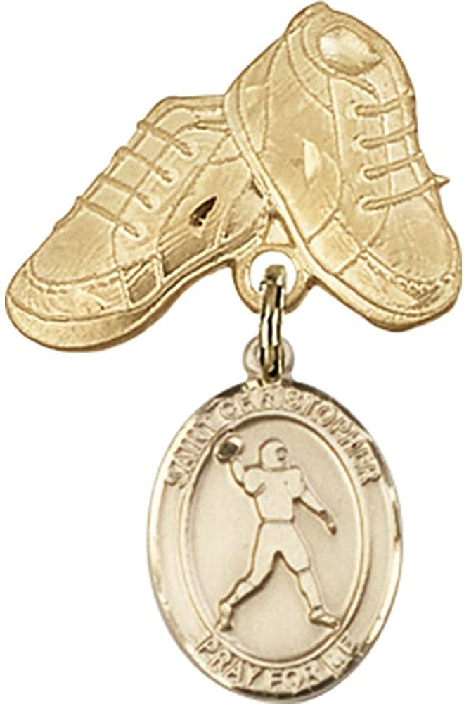 14kt Yellow Gold Baby Badge with St. Christopher/Football Charm and Baby Boots Pin 1 X 5/8 inches