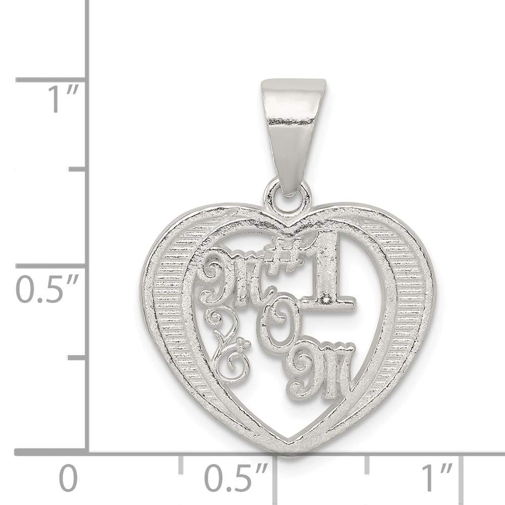 25mm x 20mm Mia Diamonds 925 Sterling Silver Solid # 1 Mom Charm