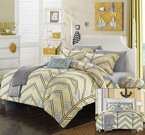 Perfect Home 10 Piece Clarendon Chevron and Geometric printed REVERSIBLE Full Comforter Set Yellow with sheet set