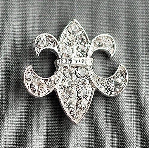 10 pcs Rhinestone buckle Crystal Slider Fleur De Lis Bridal Brooch Bouquet Wedding Invitation Napkin Ring -