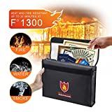 WeiBonD Fireproof and Waterproof Document Bag - Fire and Water Resistant Money Bag with Zipper Closure Protection, Protect Your Valuables for Document, Cash & Jewelry, Black