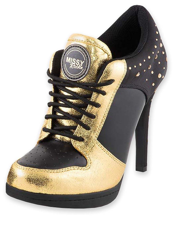 MISSY ROCKZ Bequeme Turnschuhe High Heels Damenschuhe Sparkling Gold schwarz Gold mit 10 5 cm Absatz Angesagter Freizeitschuh