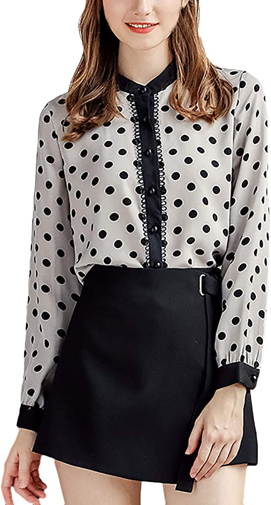 Camisa Mujer Vintage Fashion Chiffon Tops Blusas Lunares Otoño Manga Larga Stand Cuello Modernas Casual Un Solo Pecho Informales Elegantes Camicia Bluse Camisas Señoras (Color : Negro, Size : S): Amazon.es: Ropa