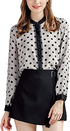 Camisa Mujer Vintage Fashion Chiffon Tops Blusas Lunares ...