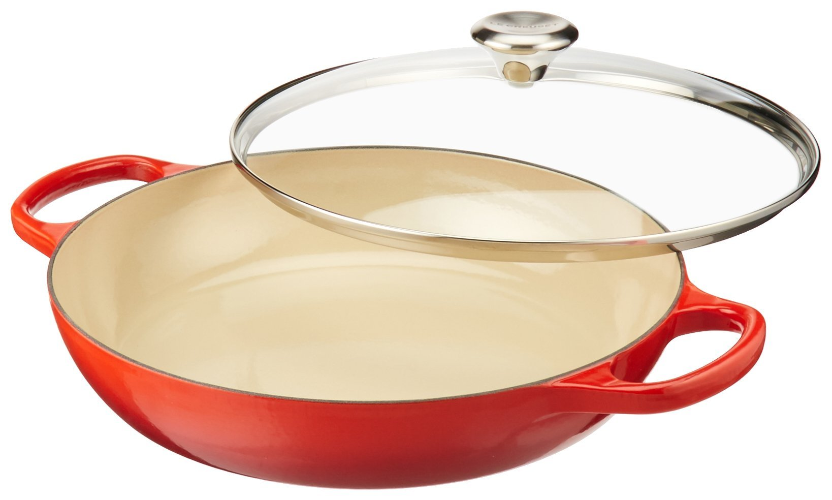 Le Creuset of America Enameled Cast Iron Buffet Casserole with Glass Lid, 3 1/2 quart, Cerise (Cherry Red)