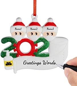Generic Home Christmas Ornament 2020 Personalized Name Quarantine Family Customized by Yourself Survivor Christmas Party Decoration Gift, Family of 3