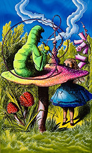 Alice Silk (Psychedelic Tapestry 'Alice in Wonderland' - Hand-painted and silkscreen batik wall-hanging - UV active wall-hanging -Trippy wall art - Black light active trippy tapestry - Fantasy tapestry)