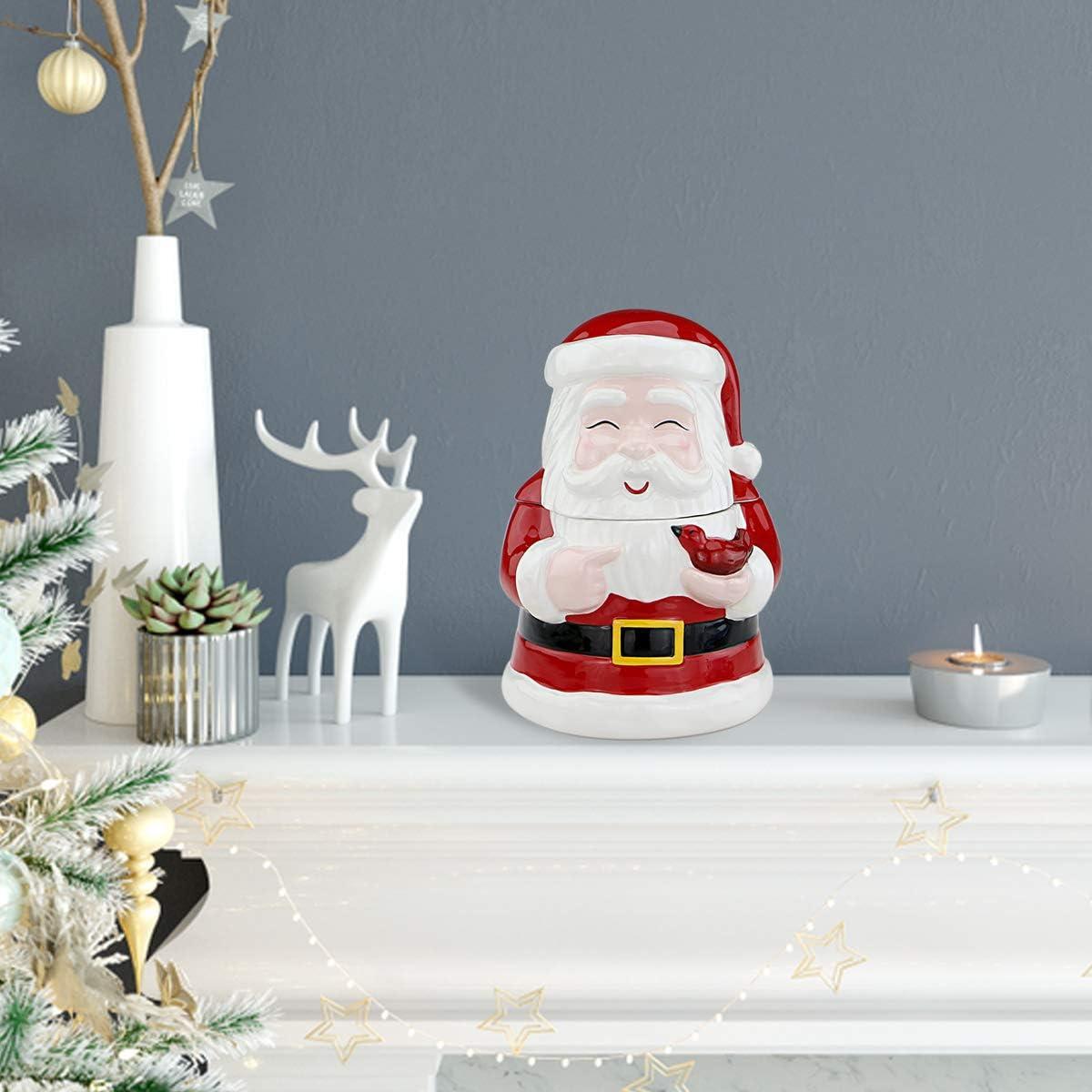 Smiling Festive Santa Claus Centerpieces Bedroom Living Room STAR MOON Christmas Santa Claus Ceramic Candy & Cookie Jar for Home Decor