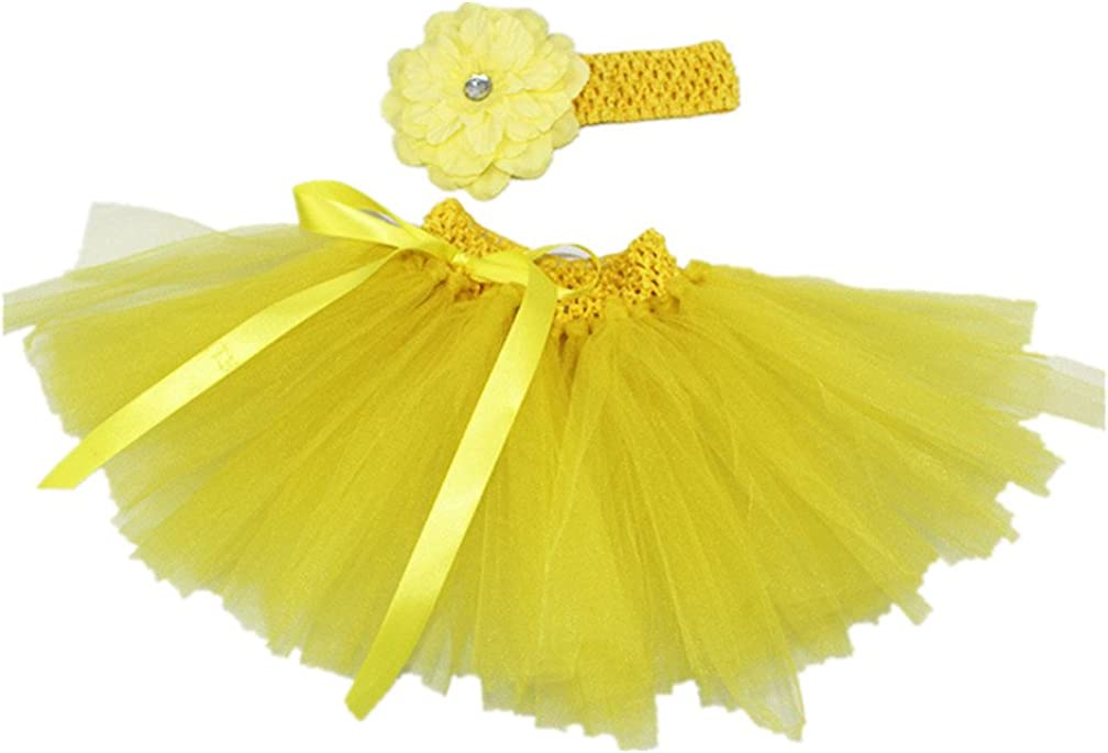 MizHome Newborn Baby Girls Birthday Layered Tulle Tutu Skirt Flower Headwear Outfits