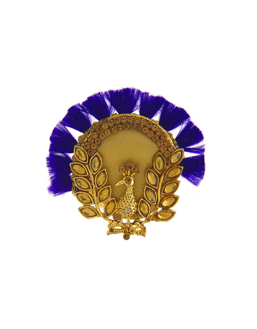 Anuradha Art Blue Colour Peacock Inspired Designer Classy Saree Pin for Women/Girls