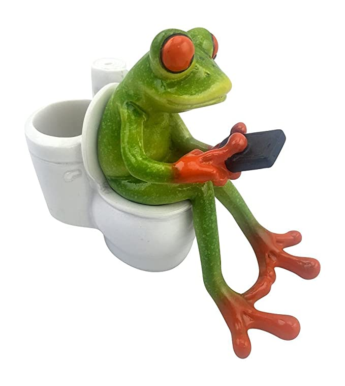 Novelty Frog Figurine Texting on Toilet - Green and Orange