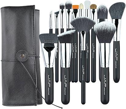 15 pinceles de maquillaje profesional PCS/SET con estuche portátil de cuero ajustable, adecuado for viajes súper Brocha de maquillaje: Amazon.es: Belleza