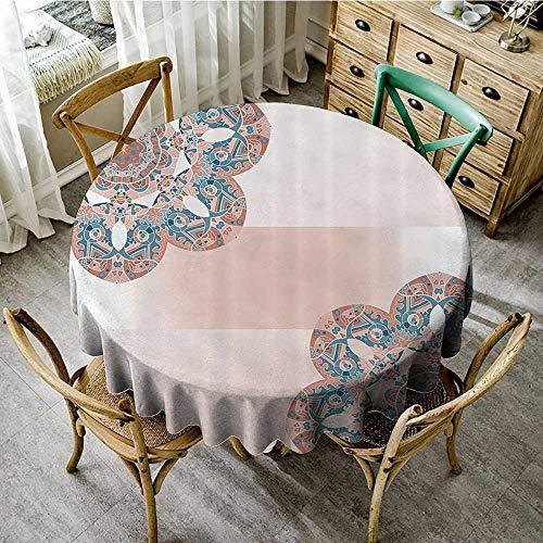 familytaste Wholesale tablecloths Oriental Mandala 69 Inch by 70 Inch,Light Salmon Blue Ivory D 50