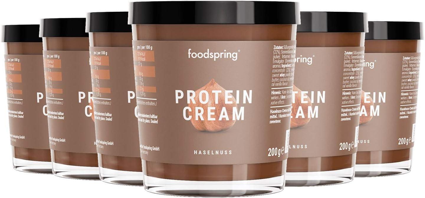 foodspring Crema Proteica, 6 x 200g, Crema proteica spalmabile alla nocciola