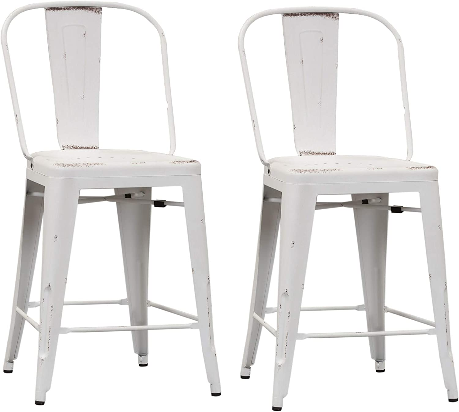 Liberty Furniture Industries Vintage Series (Set of 2) Bow Back Counter Chair, Antique White