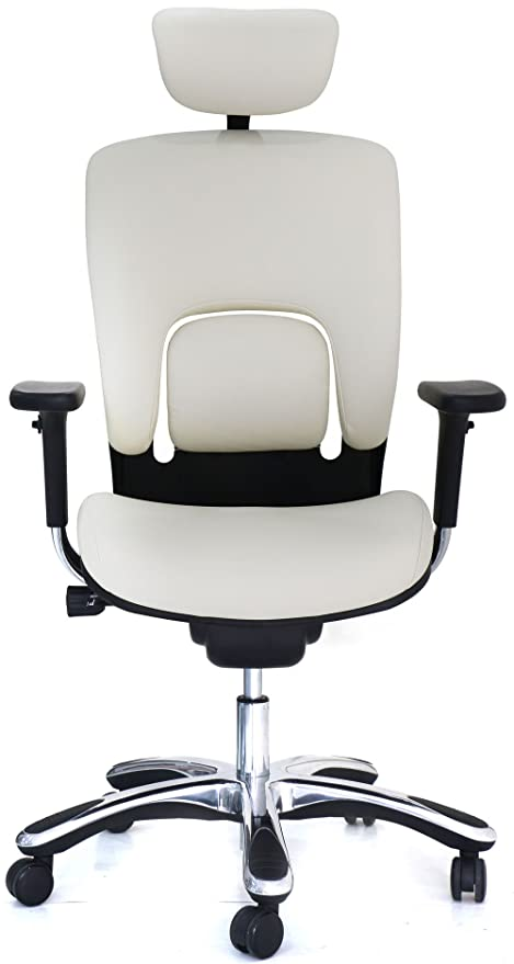 GM Seating Ergolux Genuine Leather Executive Hi Swivel Chair Chrome Base  With Headrest, White