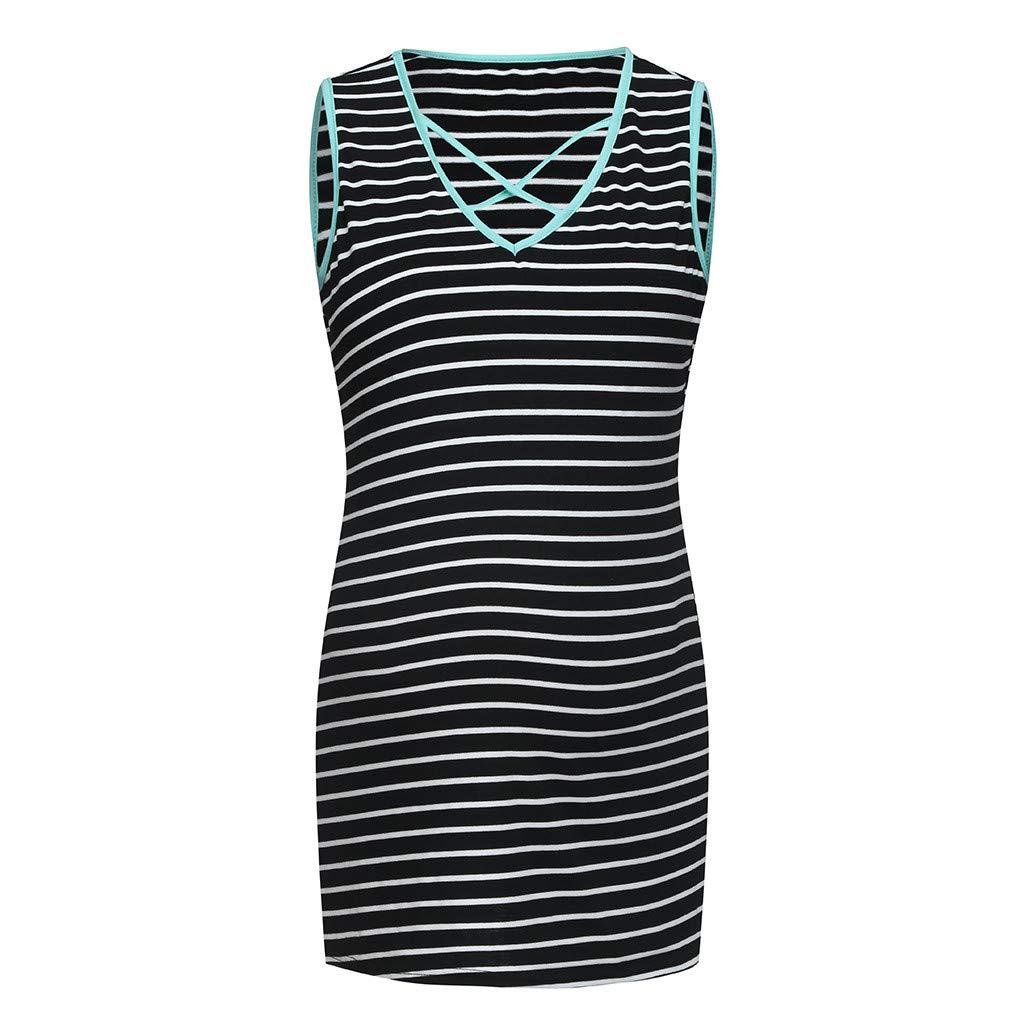 Pregnant Tops for Women,Women Sleeveless Pregnant Straps Maternity T-Shirt Stripe Vest Tops,Men's Clothing,Black,M