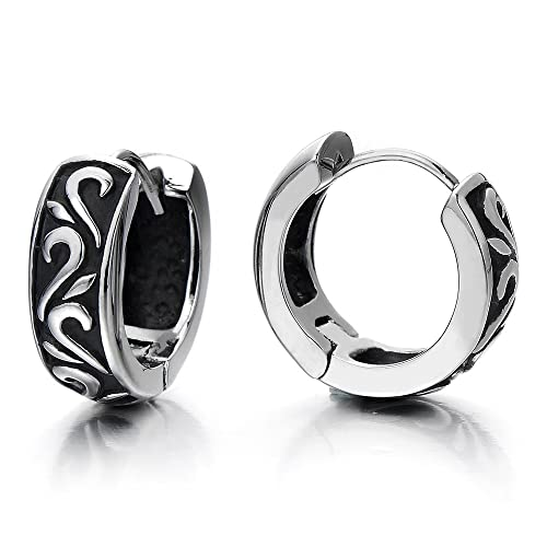 Pair Unisex Mens Women Black Huggie Hinged Hoop Earrings of Stainless Steel kp8Huol