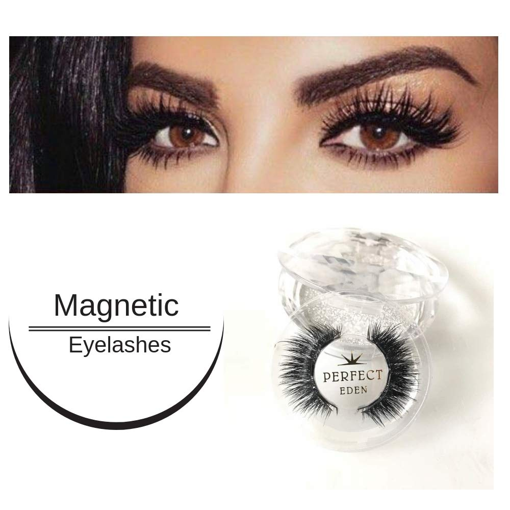 4599180ab7a Amazon.com : Dramatic Magnetic Eyelashes Full Eye 3 Magnets 3D Premium  Quality Soft Thin Handmade No Glue Best Fake Reusable Cruelty Free for  Everyday Wear ...