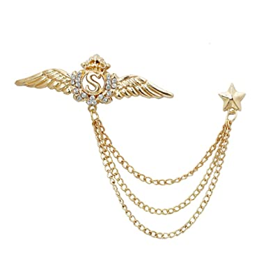 f849acc84404 Amazon.com: Wing Star Lapel Pin Men Suit Shirt Corsage Collar Chain Brooch  Gold: Jewelry