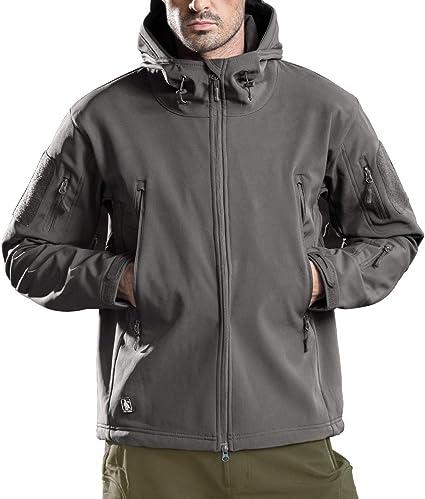 FREE SOLDIER Homme Veste à Capuche imperméable Veste Softshell Ski Mountain Randonnée Coupe Vent