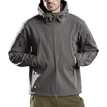FREE SOLDIER Hombres Impermeable Capucha Chaqueta Resistente al Viento Senderismo Esquí Mountain Chaqueta